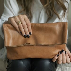 Bauxo Bound Caramel Leather Clutch